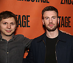 Michael Cera and Chris Evans backstage at  the Second Stage Theater Broadway lights up the Hayes Theatre at the Hayes Theartre on February 5, 2018 in New York City.