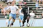 31 August 2008: VCU's Owusu Sekyere (GHA) (11) is chased by UNC's Garry Lewis (8). The University of North Carolina Tar Heels defeated the Virginia Commonwealth University Rams 1-0 in overtime at Fetzer Field in Chapel Hill, North Carolina in an NCAA Division I Men's college soccer game.