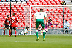 LONDON, ENGLAND - MARCH 29: Ryan Kenda of North Ferriby United (3rd left)  scores his team's second goal of the game aginast Wrexham to make it 2-2 during the FA Carlsberg Trophy Final 2015 at Wembley Stadium on March 29, 2015 in London, England. (Photo by David Horn/EAP)