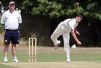 Abdul Asiri of Hornchurch in bowling action - Hornchurch CC 3rd XI vs Ardleigh Green CC 3rd XI, Essex Club Cricket at Fielders Sports Ground, Hornchurch - 03/07/10 - MANDATORY CREDIT: Rob Newell/TGSPHOTO - Self billing applies where appropriate - 0845 094 6026 - contact@tgsphoto.co.uk - NO UNPAID USE.