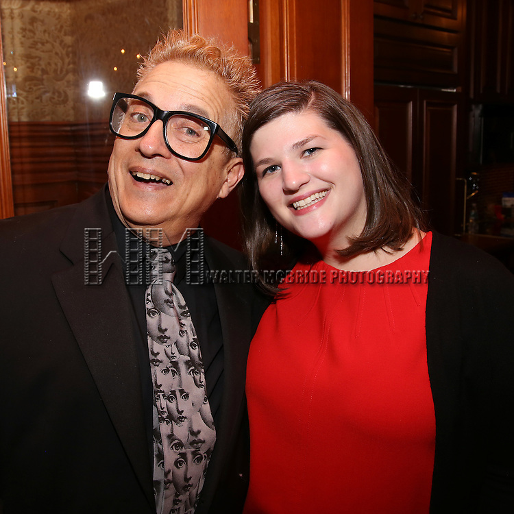 Ken Fallin and Rachel Routh during the Dramatists Guild Fund intimate salon with Benj Pasek and Justin Paul at the home of Kara Unterberg on March 7, 2016 in New York City.