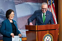 United States Senate Minority Leader Chuck Schumer (Democrat of New York) reminds United States Senator Mazie Hirono (Democrat of Hawaii) of social distancing rules during a news conference at the United States Capitol in Washington D.C., U.S., on Tuesday, June 9, 2020.  Credit: Stefani Reynolds / CNP/AdMedia