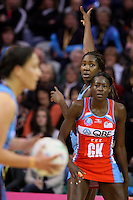 Steel's Jhaniele Fowler indicates for the pass in the ANZ netball championship match against the Swifts, Stadium Southland Velodrome, Invercargill, New Zealand, Monday, May 06, 2013. Credit:NINZ/Dianne Manson