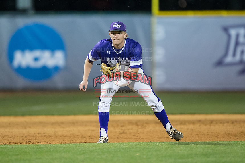 High Point Panthers third baseman Ryan Mason (20) on defense against the NJIT Highlanders during game two of a double-header at Williard Stadium on February 18, 2017 in High Point, North Carolina.  The Highlanders defeated the Panthers 4-2.  (Brian Westerholt/Four Seam Images)