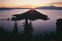 Wizard Island at sunrise<br /> Crater Lake National Park<br /> Cascade Range<br /> Oregon