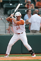 Texas Longhorns pinch hitter Landon Steinhagen #30 at bat during the NCAA baseball game against the Texas A&M Aggies on April 28, 2012 at UFCU Disch-Falk Field in Austin, Texas. The Aggies beat the Longhorns 12-4. (Andrew Woolley / Four Seam Images).