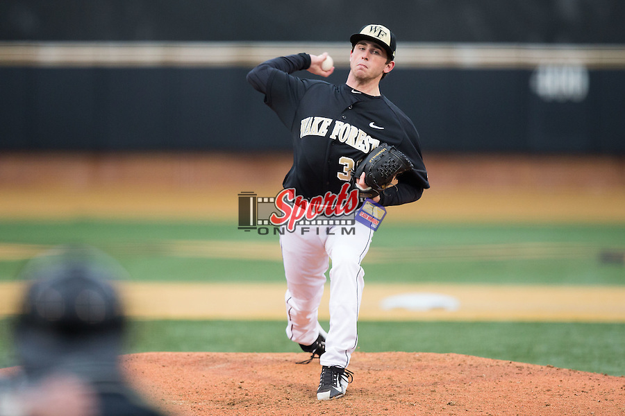Wake Forest Demon Deacons relief pitcher Connor Johnstone (30) in action against the Appalachian State Mountaineers at Wake Forest Baseball Park on February 13, 2015 in Winston-Salem, North Carolina.  The Mountaineers defeated the Demon Deacons 10-1.  (Brian Westerholt/Sports On Film)