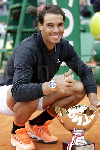 April 23rd 2017, Monte Carlo, Monaco; The Monte-Carlo Rolex Masters tennis tournament singles final, Rafael Nadal versus Albert Ramos-Vinolas; Nadal receives his trophy from Prince Albert