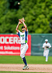 25 July 2017: Vermont Lake Monsters infielder Jesus Lage pulls in an infield fly ball by the Tri-City ValleyCats at Centennial Field in Burlington, Vermont. The Lake Monsters defeated the ValleyCats 11-3 in NY Penn League action. Mandatory Credit: Ed Wolfstein Photo *** RAW (NEF) Image File Available ***