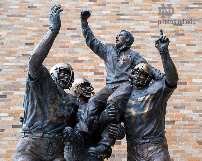 March 22, 2020; Statue of Ara Parseghian outside Notre Dame Stadium (Photo by Matt Cashore/University of Notre Dame)