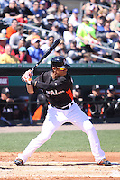 Miami Marlins Gorkys Hernandez (2) at bat against the New York Mets during a spring training game at the Roger Dean Complex in Jupiter, Florida on March 3, 2013. Miami defeated New York 6-4. (Stacy Jo Grant/Four Seam Images)........
