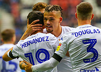 Leeds United's Pablo Hernandez celebrates scoring his side's equalising goal with Kalvin Phillips and Barry Douglas<br /> <br /> Photographer Alex Dodd/CameraSport<br /> <br /> The EFL Sky Bet Championship - Wigan Athletic v Leeds United - Sunday 4th November 2018 - DW Stadium - Wigan<br /> <br /> World Copyright &copy; 2018 CameraSport. All rights reserved. 43 Linden Ave. Countesthorpe. Leicester. England. LE8 5PG - Tel: +44 (0) 116 277 4147 - admin@camerasport.com - www.camerasport.com