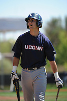 University of Connecticut Huskies infielder Bryan Daniello (1) during game against the Rutgers University Scarlet Knights at Bainton Field on May 3, 2013 in Piscataway, New Jersey. Connecticut defeated Rutgers 3-1.      . (Tomasso DeRosa/ Four Seam Images)