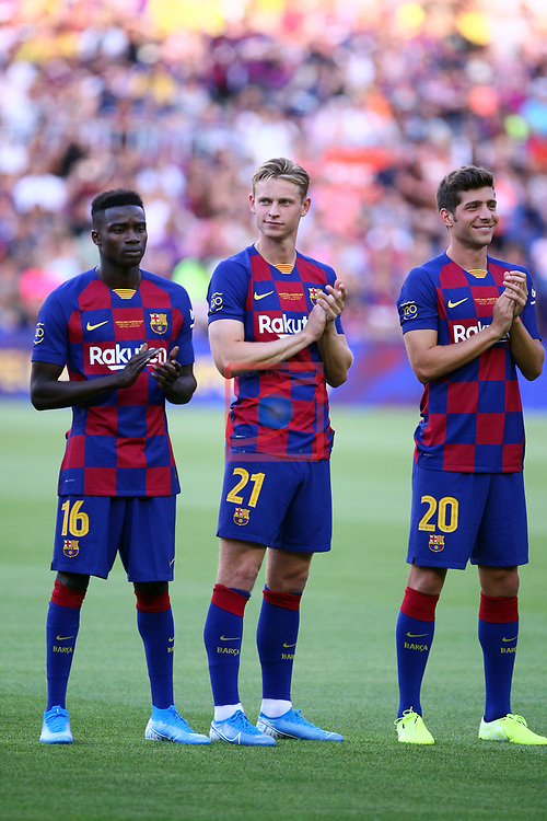 Presentation 1st team FC Barcelona 2019/2020.<br /> Moussa Wague, Frenkie de Jong & Sergi Roberto.