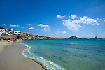Sandy beach on Mykonos Island in Greece
