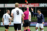 HAREN , Voetbal,  Be Quick - Quick, Derde Divisie zondag seizoen 2017-2018, 17-09-2017, arbiter Cantineau trekt rood voor Ivan Spijkstra na harde overtreding