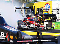 Mar 15, 2015; Gainesville, FL, USA; NHRA top fuel driver Chris Karamesines during the Gatornationals at Auto Plus Raceway at Gainesville. Mandatory Credit: Mark J. Rebilas-