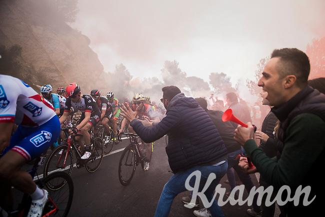 crazy tifosi up the Capo Berta (38 km's before the finish)<br /> <br /> 108th Milano - Sanremo 2017