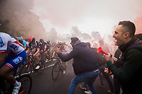 crazy tifosi up the Capo Berta (38 km's before the finish)<br /> <br /> 108th Milano - Sanremo 2017