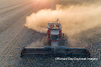 63801-13510 Harvesting soybeans in fall-aerial  Marion Co. IL