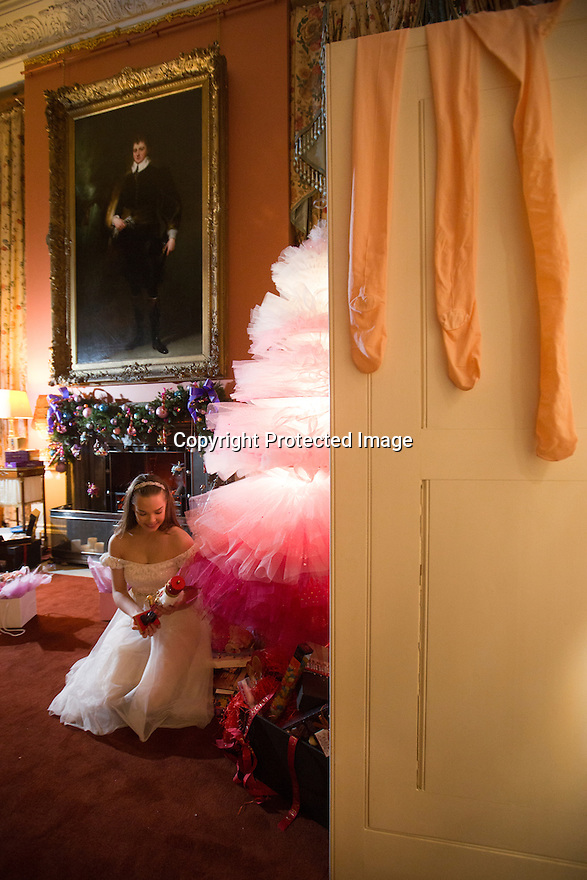 04/11/16<br /> <br /> Commission Mcc0073519 Assigned<br /> <br /> Daisy Edwards (19) sat by a tutu Christmas tree with a model of the Nutcracker Prince.<br /> <br /> Ballerinas pose for photographs in the Painted Hall at Chatsworth House to mark the start of the stately home's Christmas themed  'The Nutcracker'. Join Clara's adventures as she is swept away by her Nutcracker Prince until Jan 3 2017.<br /> <br /> All Rights Reserved F Stop Press Ltd. (0)1773 550665   www.fstoppress.com