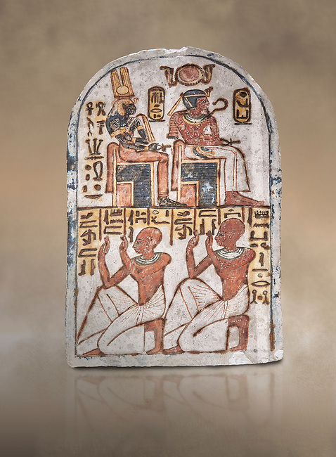 "Ancient Egyptian Stele of Amenemope dedicated to Amenhotep I and Ahmose-Nefertari, limestone, New Kingdom, 19th Dynasty, (1279-1213 BC), Deir el-Medina, Drovetti cat 1454. Egyptian Museum, Turin. <br /> <br /> The stele is dedicated to Amenhotep I and Ahmose-Nefertari by the 'Servant in the Place of Truth' Amenemope and Amennakht. The king and the queen are shown sitting on their thrones. Above the sovereign there is a solar disc flanked by two sacred cobras and their cartouches are shown to the right of each of them. In the bottom register Amenemope is shown with his son  Amennakht, who also was a ""Servant in the Place of Truth"", in the pose of adoration."