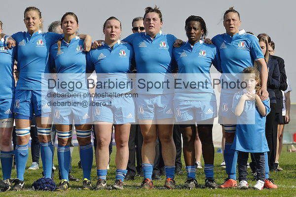 16 marzo 2014, Rovato - La nazionale italiana femminile di rugby viene sconfitta dall'Inghilterra per 24 a 0, nell'ultima partita del Torneo 6 Nazioni femminile a Rovato, Brescia.<br />
