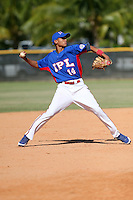 Fidel Mejia participates in the International Prospect League Showcase at the New York Yankees academy in Boca Chica, Dominican Republic on January 24, 2014 (Bill Mitchell)