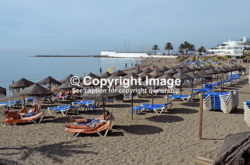 Beach, playa, shore, shoreline, recliners, daytime, sun loungers, sunbathing, sunbathers, Marbella, Spain, leisure, holidays, vacations, 201310152873<br /> <br /> Copyright Image from Victor Patterson, 54 Dorchester Park, Belfast, UK, BT9 6RJ<br /> <br /> Tel: +44 28 9066 1296<br /> Mob: +44 7802 353836<br /> Voicemail +44 20 8816 7153<br /> Skype: victorpattersonbelfast<br /> Email: victor@victorpatterson.com<br /> Email: victorpatterson@me.com (back-up)<br /> <br /> IMPORTANT: If you wish to use this image or any other of my images please go to www.victorpatterson.com and click on the Terms &amp; Conditions. Then contact me by email or phone with the reference number(s) of the image(s) concerned.