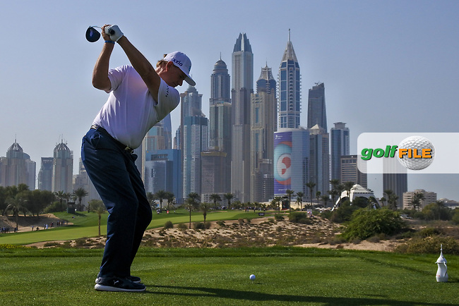 Ernie Els (RSA) on the 8th tee during Round 3 of the Omega Dubai Desert Classic, Emirates Golf Club, Dubai,  United Arab Emirates. 26/01/2019<br /> Picture: Golffile | Thos Caffrey<br /> <br /> <br /> All photo usage must carry mandatory copyright credit (&copy; Golffile | Thos Caffrey)