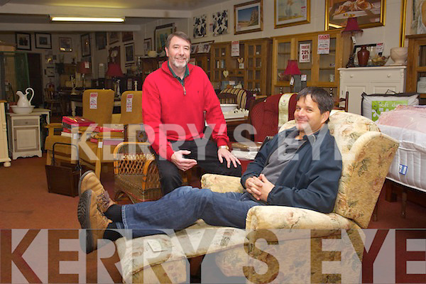 Damian Stack and Paul Morkan on the recliners in Stack's Furniture in the Arcade in William Street, Listowel.
