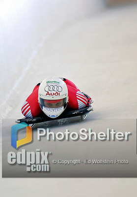 12 December 2006: Maya Pederson, from Switzerland, slides down a straightaway during a training run in preparation for the World Cup Skeleton Competition at the Olympic Sports Complex on Mount Van Hoevenburg  in Lake Placid, New York, USA.&amp;#xA;&amp;#xA;Mandatory Photo credit: Ed Wolfstein Photo<br />