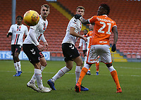 Blackpool's Armand Gnanduillet battles with Charlton Athletic's Patrick Bauer (left) and Krystian Bielik<br /> <br /> Photographer Stephen White/CameraSport<br /> <br /> The EFL Sky Bet League One - Blackpool v Charlton Athletic - Saturday 8th December 2018 - Bloomfield Road - Blackpool<br /> <br /> World Copyright &copy; 2018 CameraSport. All rights reserved. 43 Linden Ave. Countesthorpe. Leicester. England. LE8 5PG - Tel: +44 (0) 116 277 4147 - admin@camerasport.com - www.camerasport.com
