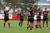 Papakura players celebrate their first win for the season. Counties Manukau Premier Club Rugby game between Papakura and Karaka played at Massey Park Papakura on Saturday May 5th 2018. Papakuar won the game 28 - 25 after trailing 6 - 12 at halftime.<br /> Papakura - Faalae Peni, Darryl Hemopo, George Crichton, Federick Cain tries, Faalae Peni conversion; Faalae Peni 2 penalties, Karaka -Salesitangi Savelio, Cardiff Vaega, Walter Fifita tries, Juan Benadie 2 conversions, Juan Benadie 2 penalties.<br /> Photo by Richard Spranger.