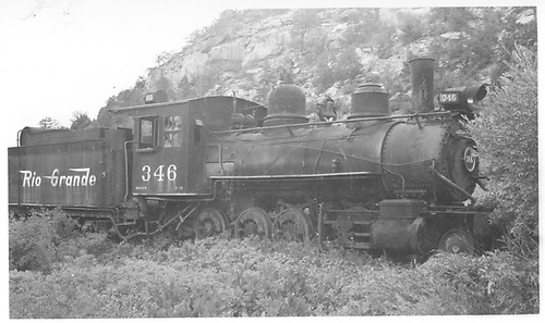 3/4 engineer's-side view of C-19 #346 at Dolores.<br /> RGS  Dolores, CO  Taken by Radcliffe, William H. - 7/25/1950