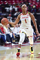 College Park, MD - NOV 13, 2017: Maryland Terrapins guard Ieshia Small (1) in action during game between No. 4 ranked South Carolina and the No. 15 Maryland Terrapins at the XFINITY Center in College Park, MD. The Gamecocks defeated Maryland 94-86.  (Photo by Phil Peters/Media Images International)