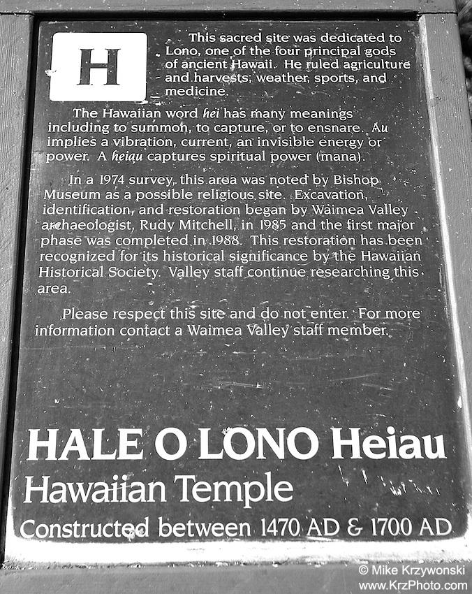 Hale O Lono Heiau, Waimea Valley, O'ahu
