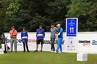 Damien McGrane (IRL), Paul Howard (ENG), Joel Girrbach (SUI) on the 11th during Round 1 of the Northern Ireland Open at Galgorm Golf Club, Ballymena Co. Antrim. 10/08/2017<br /> Picture: Golffile | Thos Caffrey<br /> <br /> <br /> All photo usage must carry mandatory copyright credit (&copy; Golffile | Thos Caffrey)