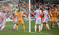 Jonathan Parkin of Newport County (far right) scores his side's first goal during the Sky Bet League 2 match between Newport County and Cheltenham Town at Rodney Parade, Newport, Wales on 10 September 2016. Photo by Mark  Hawkins / PRiME Media Images.