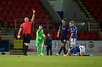 29th December 2019; McDairmid Park, Perth, Perth and Kinross, Scotland; Scottish Premiership Football, St Johnstone versus Ross County; Brian Graham of Ross County is red carded in stoppage time at the end of the match by referee Bobby Madden - Editorial Use