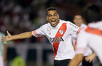 BUENOS AIRES - ARGENTINA - 10-12-2014: Gabriel Mercado Jugador de River Plate de Argentina celebra el gol anotado a Atletico Nacional de Colombia durante partido de vuelta de la final, de la Copa Total Suramericana entre River Plate de Argentina y Atletico Nacional de Colombia en el Estadio Antonio Vespucio Liberti- Monumental de Nuñez, de la ciudad de Buenos Aires.  / Gabriel Mercado player River Plate of Argentina of celebrates a scored goal against Atletico Nacional of Colombia during a match for the second leg of the final, between River Plate of Argentina and Atletico Nacional for the Copa Total Suramericana in the Antonio Vespucio Liberti- Monumental de Nuñez, Stadium, in Buenos Aires city. Photo:  Photogamma / VizzorImage.