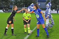 Aalst's defender Chloe Van Mingeroet (17) and Gent's defender Silke Vanwynsberghe (21) pictured during a female soccer game between  AA Gent Ladies and Eendracht Aalst on the second matchday of the 2020 - 2021 season of Belgian Scooore Womens SuperLeague , friday 4 th of september 2020  in Oostakker , Belgium . PHOTO SPORTPIX.BE | SPP | STIJN AUDOOREN