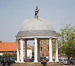 The historic Buttercross market place in the town of Swaffham, Norfolk, England, Built in 1783 topped with a statue of Ceres the Roman goddess of the harvest,