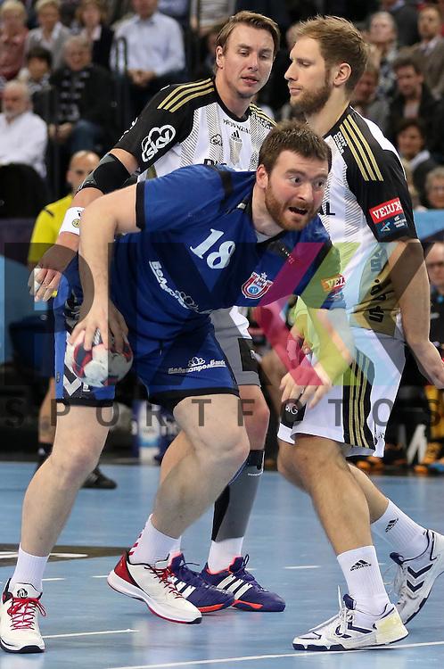 Kiel, 95.02.15, Sport, Handball, Champions League, Gruppenphase, THW Kiel - HC Meshkov Brest : Rastko<br />  Stojkovic (HC Meshkov Brest, #18), Filip Jicha (THW Kiel, #39), Steffen Weinhold  (THW Kiel, #13)<br /> <br /> Foto &copy; P-I-X.org *** Foto ist honorarpflichtig! *** Auf Anfrage in hoeherer Qualitaet/Aufloesung. Belegexemplar erbeten. Veroeffentlichung ausschliesslich fuer journalistisch-publizistische Zwecke. For editorial use only.