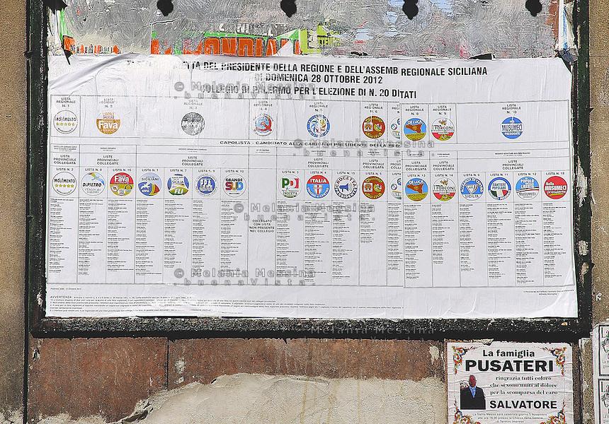 Manifesto elettorale con l'elenco delle liste.