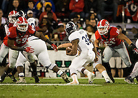ATHENS, GEORGIA - November 21, 2015: University of Georgia Bulldogs play the Georgia Southern Eagles at Sanford Stadium. Final score University of Georgia 23, Georgia Southern 17 in overtime.