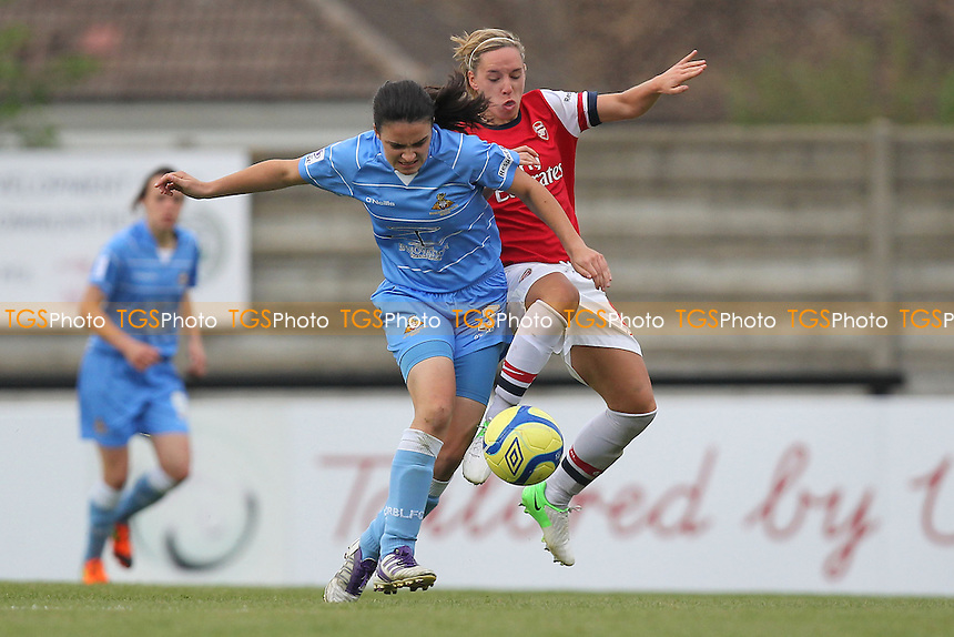 Jess Sigsworth of Doncaster and Jordan Nobbs of Arsenal - Arsenal Ladies vs Doncaster Rovers Belles - FA Womens Super League Football at Boreham Wood FC - 30/09/12 - MANDATORY CREDIT: Gavin Ellis/TGSPHOTO - Self billing applies where appropriate - 0845 094 6026 - contact@tgsphoto.co.uk - NO UNPAID USE.