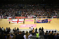 10.02.2017 The England Roses and the Silver Ferns line up for the National anthem ahead of the Silver Ferns v England Roses Vitality Netball International Series test match played at the Echo Arena in Liverpool. Mandatory Photo Credit © Paul Greenwood/Michael Bradley Photography.