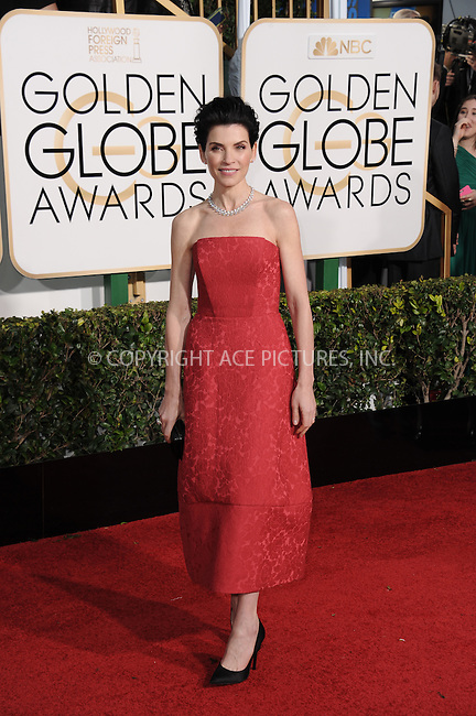 WWW.ACEPIXS.COM<br /> <br /> January 11 2015, LA<br /> <br /> Actress Julianna Margulies arriving at the 72nd Annual Golden Globe Awards at The Beverly Hilton Hotel on January 11, 2015 in Beverly Hills, California. <br /> <br /> <br /> By Line: Peter West/ACE Pictures<br /> <br /> <br /> ACE Pictures, Inc.<br /> tel: 646 769 0430<br /> Email: info@acepixs.com<br /> www.acepixs.com