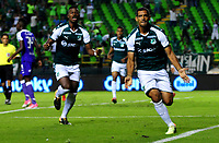 PALMIRA - COLOMBIA - 14 - 03 - 2018: Jose Sand (Der.) jugador de Deportivo Cali celebra el gol anotado a Once Caldas, durante partido entre Deportivo Cali y Once Caldas de la fecha 8 por la liga Aguila I 2018, jugado en el estadio Deportivo Cali (Palmaseca) en la ciudad de Palmira. / Jose Sand (R) player of Deportivo Cali celebrates a scored goal to Once Caldas, during a match between Deportivo Cali and Once Caldas of the 8th date for the Liga Aguila I 2018, at the Deportivo Cali (Palmaseca) stadium in Palmira city. Photo: VizzorImage  / Nelson Rios / Cont.